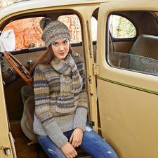 Modell 331/4, Pullover mit Mütze und Schal aus Lei Color Mix von Lana Grossa
