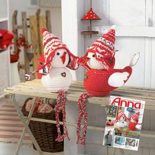 Modell 822/4, 2 Weihnachtsspatzen aus Landwolle von Junghans-Wolle