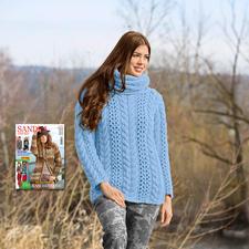 Modell 100/5, Pullover mit Loop aus Merino Dick von Junghans-Wolle