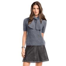 Modell 133/6, Damenpullover mit Schal aus Kaschmir von Junghans-Wolle