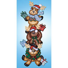 Lustige Rentiere, Wand- oder Türdeko Stickideen zur Weihnachtszeit.