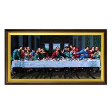 """Gobelinbild """"Abendmahl"""" Farbig vorgemalte Gobelins mit Holzrahmen."""