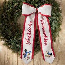 """Dekorative Türschleifen """"Fröhliche Weihnachten"""" Geflammte Leinenoptik mit roter Paspel."""