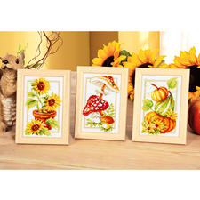 """3 Miniaturen """"Bunter Herbst"""" mit Holzrahmen 3 Miniaturen mit Holzrahmen im Set."""