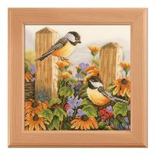 """Kreuzstichbild aus der Marjolein Bastin Collection """"Vogelgezwitscher"""" Wie gemalt: Feine Stickbilder im Kreuzstich mit Holzrahmen."""