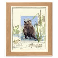 """Kreuzstichbild mit Holzrahmen """"Otter"""" Kreuzstichbilder Wildlife"""