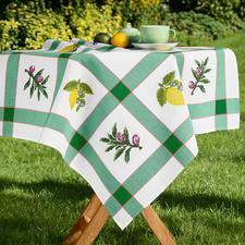 """Karo-Tischdecke """"Zitrone und Olive"""" Karo-Tischdecke aus reiner Baumwolle."""