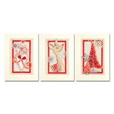 """3 Gruß- oder Menükarten mit Umschlägen im Set """"Weihnachtlich in Rot"""" 3 Gruß- oder Menükarten """"Weihnachtlich in Rot"""""""