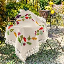 Tischdecke, bunte Herbstblätter