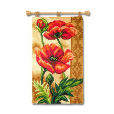 Wandbehang - Mohn Farbenfrohe Wohnraumdeko – im einfachen Kreuzstich schnell gestickt.