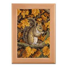 """Kreuzstichbild """"Herbstblätter"""" Stickideen in warmen Herbstfarben"""