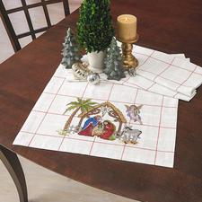 """Tischläufer """"Krippe"""", Steingrau Traditionsreiche Weihnachts-Stickerei."""