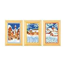 3 Miniaturen im Set - Winter Stickideen für die kalte Winterzeit.