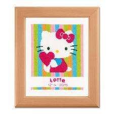 """Kreuzstich-Geburtsbild """"Hello Kitty"""" Bunte Stickideen für das Kinderzimmer."""
