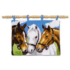 """Wandbehang """"Pferde"""" Kreuzstich-Stickideen."""