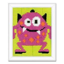 """Stickbild """"Kleines Monster"""" Bunte Stickideen für das Kinderzimmer."""