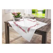 Jacquard-Damast-Tischdecke Romantische Rosen zum Sticken.