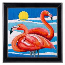 """Longstichbild """"Flamingos"""" Longstich – kinderleicht und schnell gestickt."""