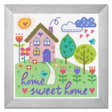 """Kreuzstichbild """"Home Sweet Home"""" Wunderschöne Schriftbilder im einfachen Kreuzstich selbst gestickt."""