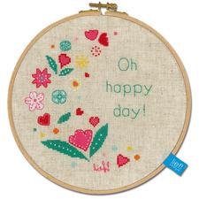 """Stickbild mit Rahmen """"Oh happy day!"""" Stickbild mit Rahmen aus Holz """"Oh happy day!"""""""