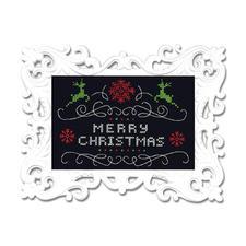 Stickbild mit Ornamentrahmen - Merry Christmas Moderne Stickidee.