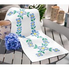 """Baumwoll-Tischläufer """"Blaue Blumen"""" Kreuzstich-Stickideen – besonders für Anfänger geeignet."""