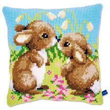 """Kreuzstichkissen """"2 kleine Kaninchen"""""""