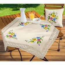 Tischdecke und Kissen, Stiefmütterchen-Bouquet