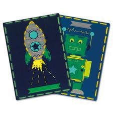 2 Stickbilder im Set - Roboter und Rakete Stickspaß für Kinder