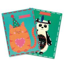 2 Stickbilder im Set - Katze und Panda Stickspaß für Kinder