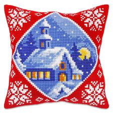 """Kreuzstichkissen """"Kirche im Winter"""""""