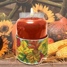 "Kerzen-""Corsage"" Herbstblätter Stickideen in warmen Herbstfarben"