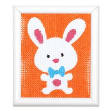 Stickbild - Lustiges Kaninchen Stickspaß für Kinder