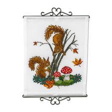 """Wandbehang """"Eichhörnchen"""" Stickideen in warmen Herbstfarben"""