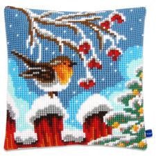 """Kreuzstichkissen """"Rotkehlchen auf dem Zaun"""" Winterliche Stickideen"""