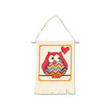 """Wandbehang """"Rote Eule"""" My first Kit – Sticken für die ganz kleinen Einsteiger."""