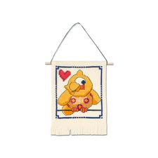 """Wandbehang """"Gelbe Eule"""" My first Kit – Sticken für die ganz kleinen Einsteiger."""