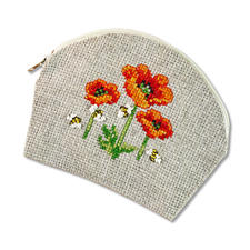 Täschchen - Nature Look Mohnblumen Easy Stitching -