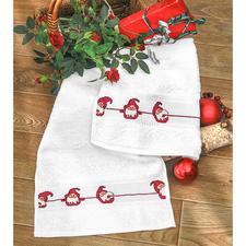 """2 Gästetücher """"Lustige Wichtel"""" im Set Weihnachts-Trend 2016:"""