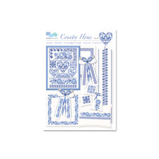 """Kreuzstich-Zählmuster-Vorlagen """"Country Home"""" Stickereien in Blau-Weiß – luftig frisch und dennoch zeitlos klassisch."""