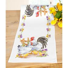 Kreuzstich-Tischläufer - Hühnerfamilie