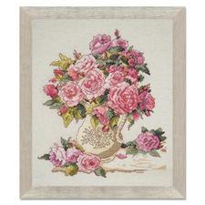 """Kreuzstichbild """"Chinesische Rosen"""""""