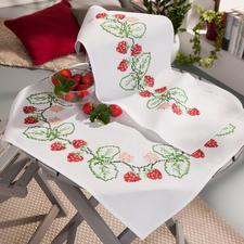 Baumwoll-Tischwäsche - Erdbeeren.
