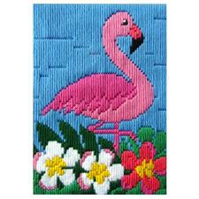 Longstichbild - Flamingo Longstichbilder – kinderleicht und schnell gestickt.