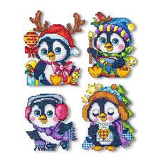 Pinguine, 4 Weihnachtsanhänger im Set Kreuzstich-Anhänger