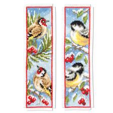 Vögel im Winter, 2 Lesezeichen im Set Stick-Ideen zur Winterzeit.