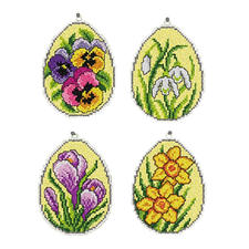 Florale Ostereier, 4er-Set Deko-Anhänger