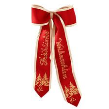 Dekorative Türschleifen in Rot/Gold oder Weiß/Silber.