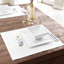 Tischwäsche mit eingewebtem Zierrand - Frühling Tischwäsche mit eingewebtem Zierrand.