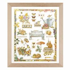 """Kreuzstichbild aus der Marjolein Bastin Collection """"Naturcollage"""" Wie gemalt: Feine Lanarte-Stickbilder im Kreuzstich mit Holzrahmen."""